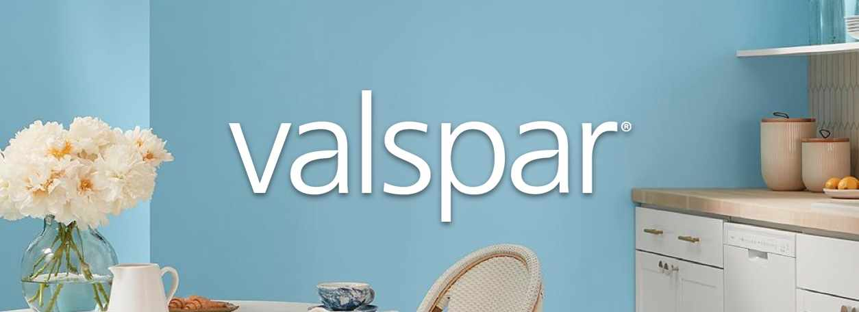 Valspar blue-painted room with logo