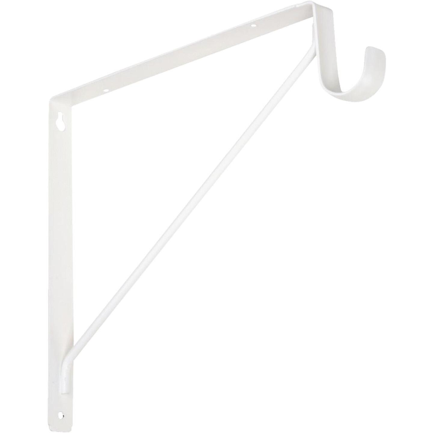 Knape & Vogt 10 In. H. x 11 In. D. Fixed Shelf & Rod Bracket, White Image 1