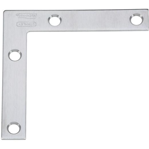 National Catalog V417 3 In. x 1/2 In. Stainless Steel Flat Corner Brace (2-Count)