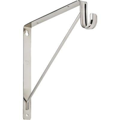 Stanley Home Designs 12-5/8 In. H. x 11 In. D. Shelf & Rod Bracket, Chrome