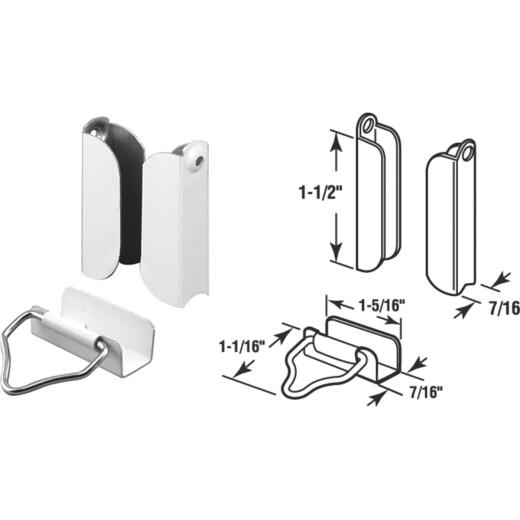 Prime-Line 7/16 In. White Hanger & Latch (2 Pack)
