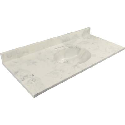 Modular Vanity Tops 49 In. W x 22 In. D Marbled Dove Gray Cultured Marble Flat Edge Vanity Top with Oval Bowl