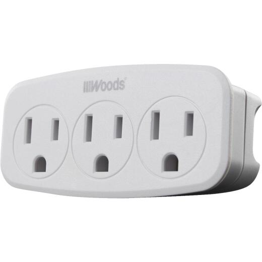 Woods White 15A 3-Outlet Tap