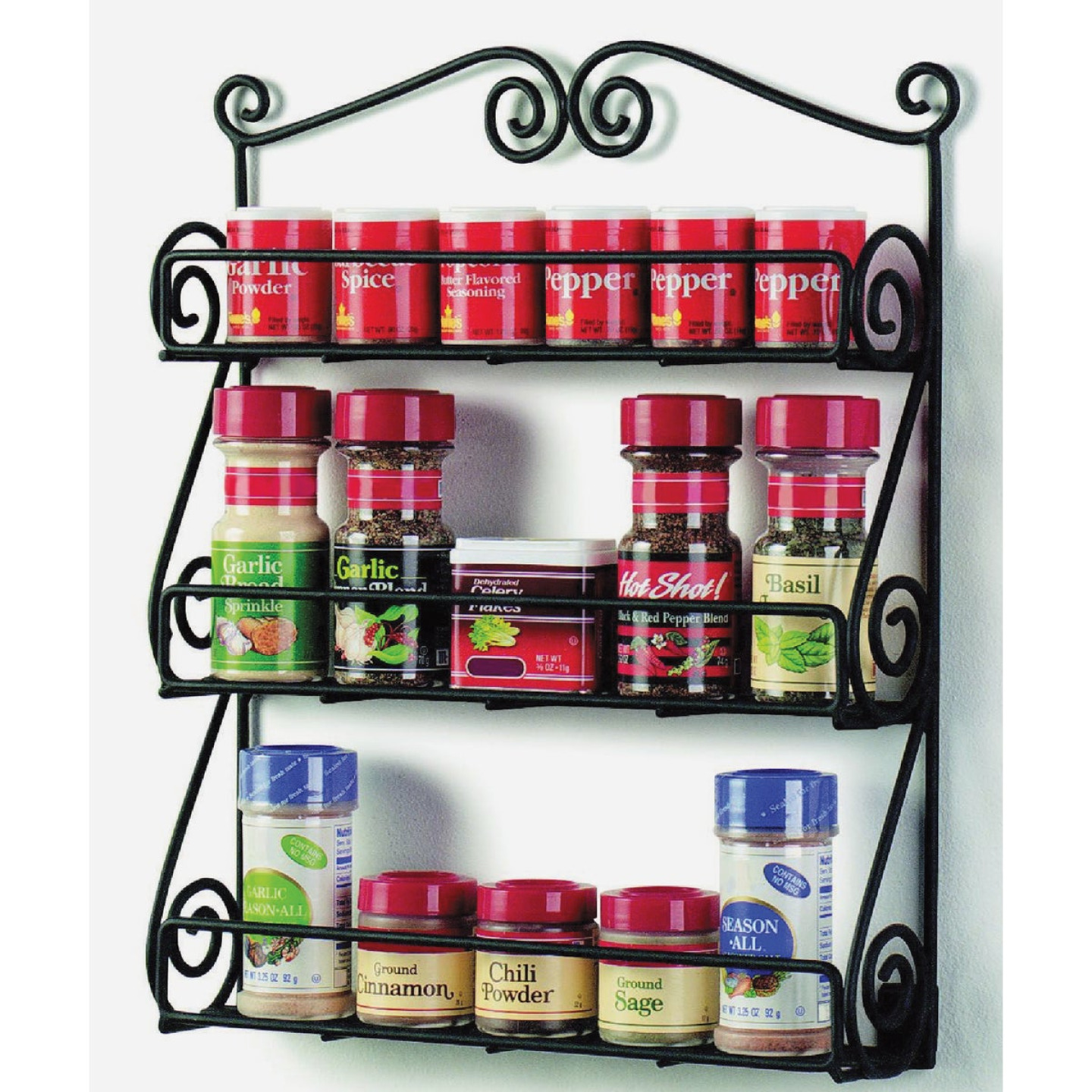 Spectrum Black Scroll Wall Mount Spice Rack Image 1