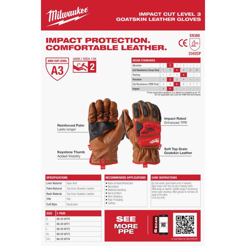 Milwaukee Impact Cut Level 3 Men's Large Goatskin Leather Work Gloves Image 5