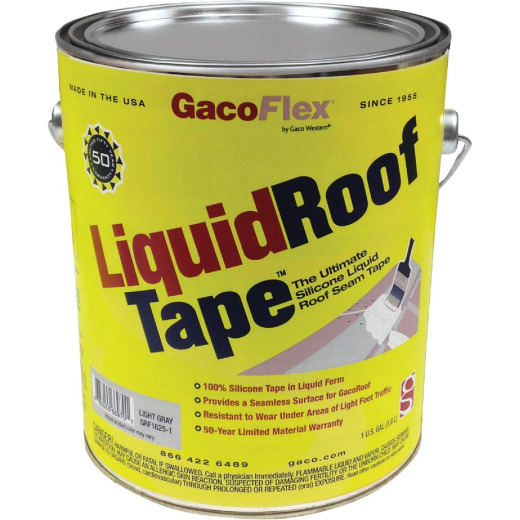GacoFlex LiquidRoof Tape 100% Silicone Liquid Tape, Gray, 1 Gal.
